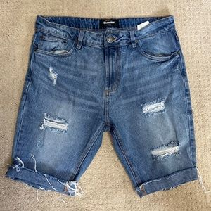 Bluenotes Slim Fit Distressed Denim Shorts Size 32